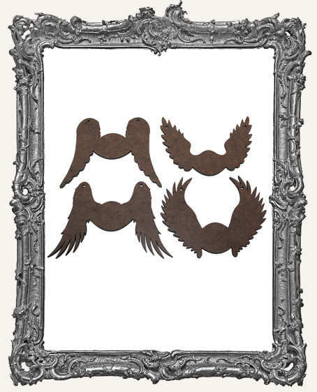 Angel Wing Cut-Outs with Ornament Holes Option - Set of 4