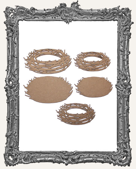 Layered Chipboard Nest Cut-Outs - 5 Pieces