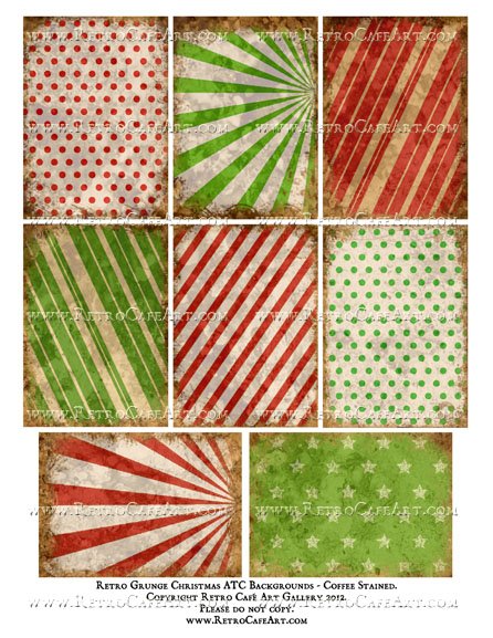 Retro Christmas Grunge ATC Backgrounds Collage Sheet - Coffee Stained
