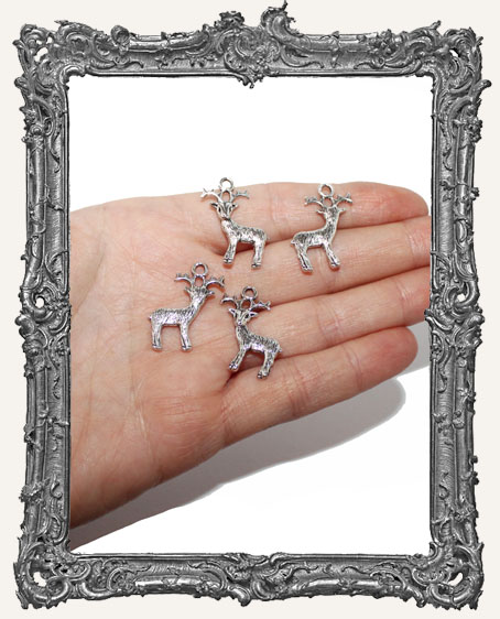 Antique Silver Reindeer Charms - Set of 4