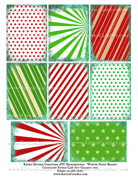 Retro Christmas Grunge ATC Backgrounds Collage Sheet - Winter Frost Bright