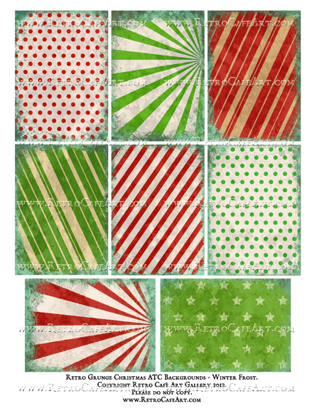 Retro Christmas Grunge ATC Backgrounds Collage Sheet - Winter Frost