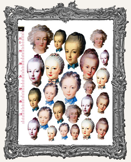 24 Marie Antoinette Art Doll Head Paper Cuts
