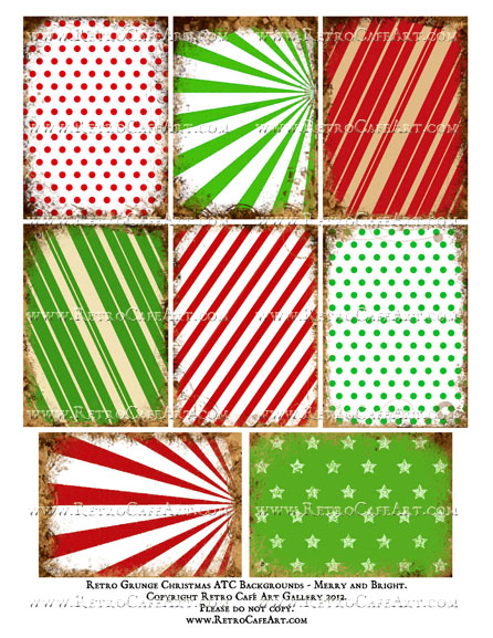 Retro Christmas Grunge ATC Backgrounds Collage Sheet - Merry and Bright