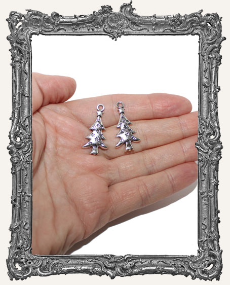 Antique Silver Christmas Tree Charms - Set of 2
