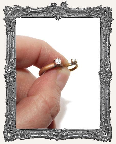 Vintage Brass Mini Diamond Engagement Ring Charm - 1 Piece
