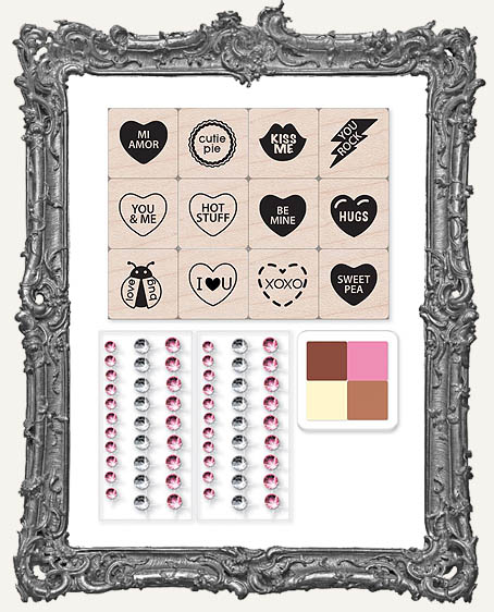 Hero Arts Valentine Messages Mounted Stamps Mini Tub