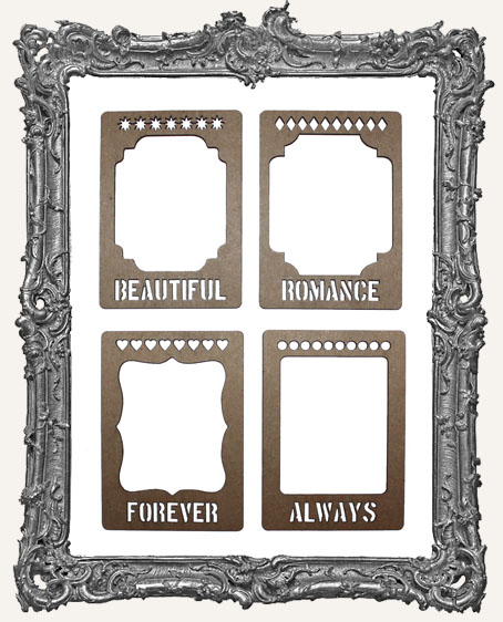 Layered Chipboard ATC Frame Set - Words of Love
