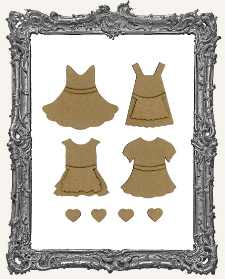 Layered Chipboard Sweetheart Doll Dresses
