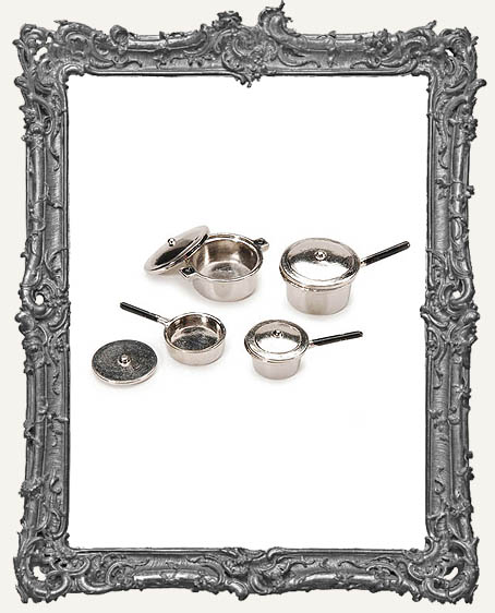 Miniature Silver Stovetop Cookware Set