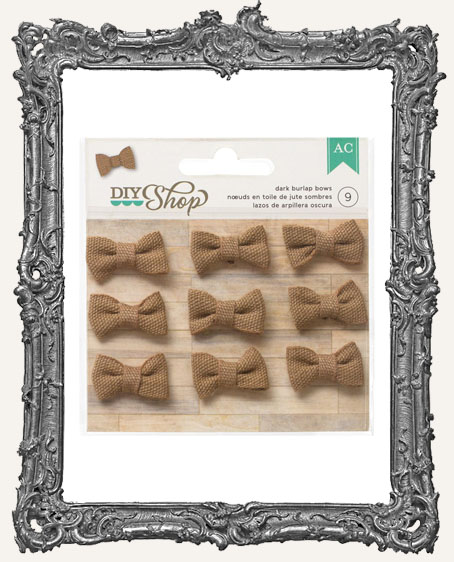 DIY Shop Mini Burlap Bows 1 Inch - 9 Pieces - DARK