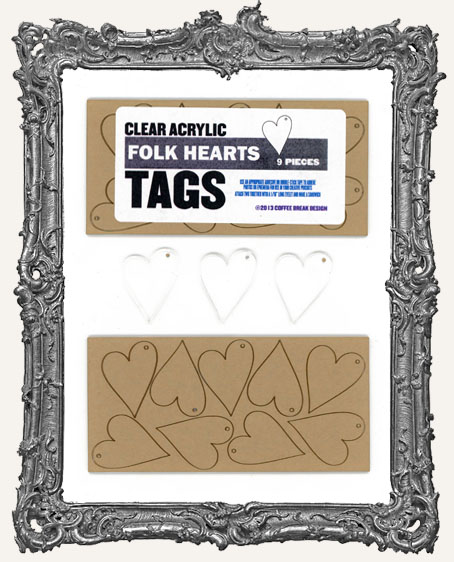Clear Acrylic Tags - FOLK HEARTS