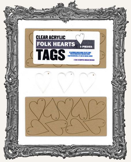 Clear Acrylic Tags - FOLK HEARTS