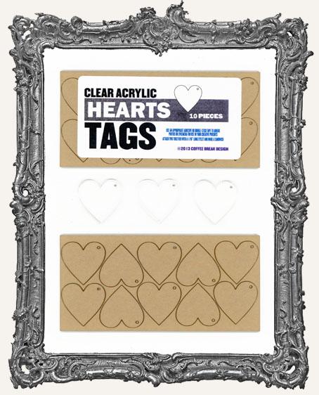 Clear Acrylic Tags - HEARTS