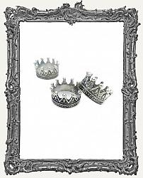 Ornate Silver 3-D Crown Charm