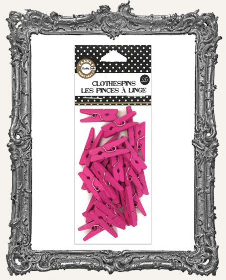 Mini Hot Pink Clothespins - 25 Pieces