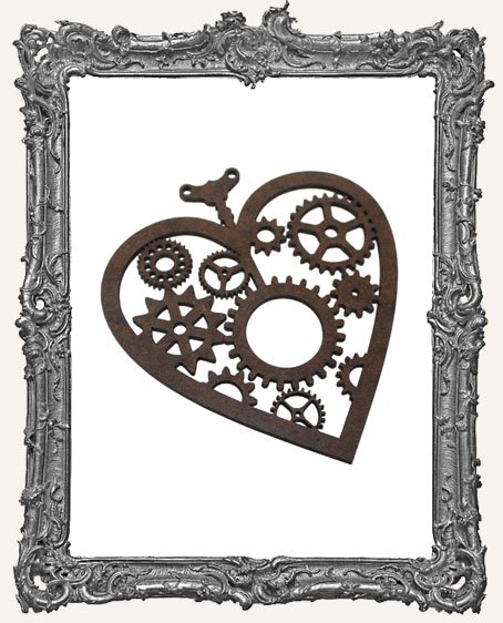 Layered Masonite Steampunk Heart Ornament