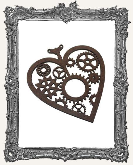 Layered Masonite Steampunk Heart Ornament