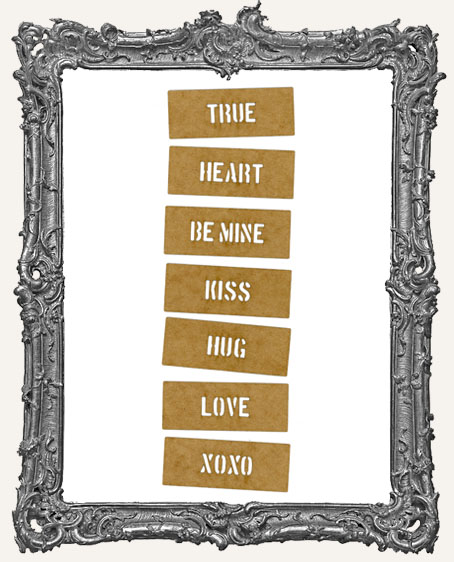 Mini Stencil Words Set of 7 - True Heart