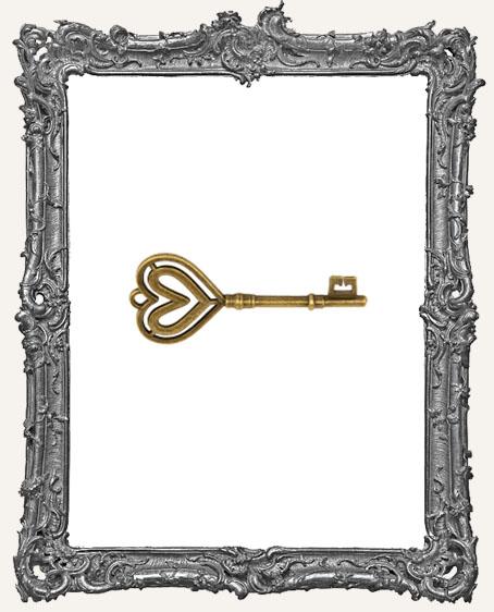 Antique Brass Large Double Heart Skeleton Key Charm - 1 Piece