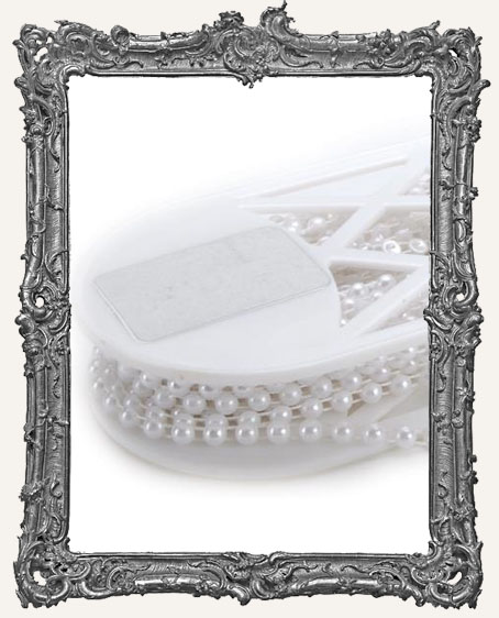White Half Pearl Ribbon Trim - 6mm - 1 Yard