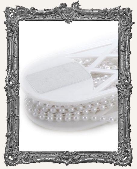White Half Pearl Ribbon Trim - 6mm - 1 Yard