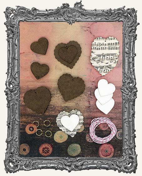 Layered Valentine Small Scalloped Heart Ornament Kit - Set of 4