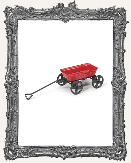 Miniature Red Wagon with Black Wheels