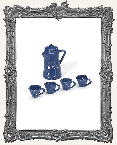 Miniature Blue Coffee Pot with Cups - 5 Pieces