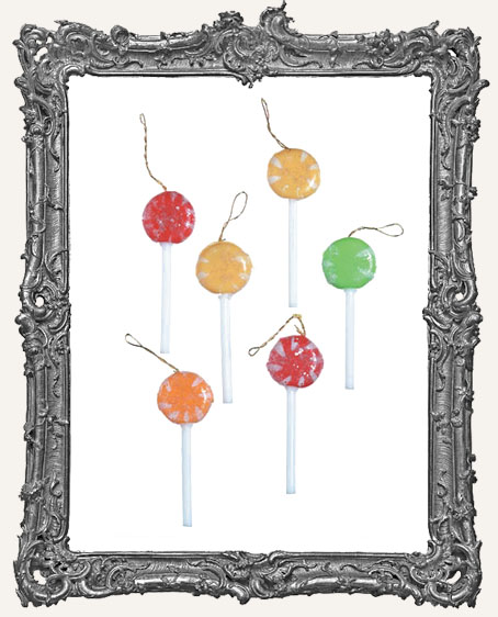 Mini Colorful Sugared Lollipops - 6 Pieces