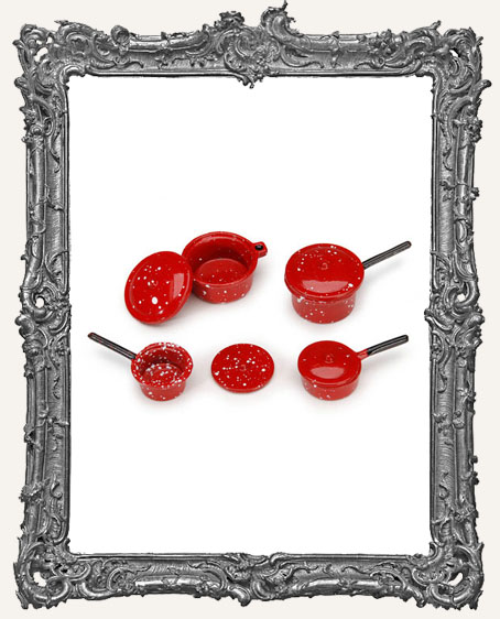 Miniature Pots and Pans with Lids - Red
