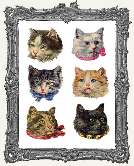 12 Extra Large Vintage Kitty Head Paper Cuts