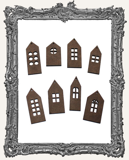 TALL Little Houses Cut-Outs WITH CHARM HOLES - 8 Pieces