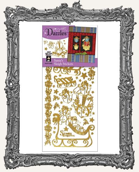 Dazzles Stickers - Gold Santa Sleigh