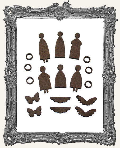 TINY Primitive Angel Art Doll Cut-Outs Set of 6