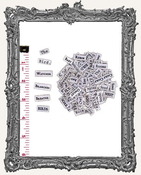117 Bird Word Collage Paper Cuts - Vintage Newspaper Grey