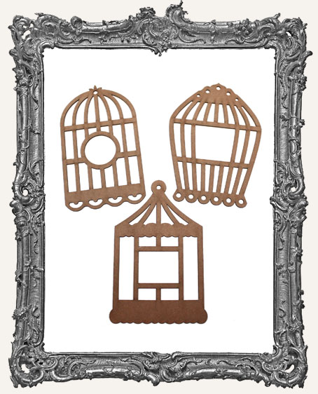 Chipboard Bird Cage Tags - Set of 3