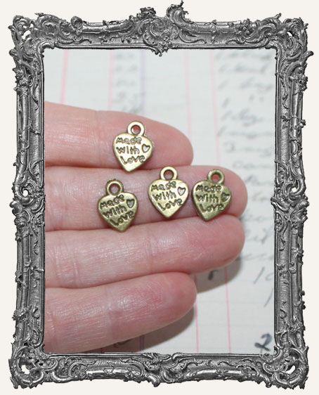 Tiny Made with Love Heart Charms Antique Silver OR Brass - Set of 4