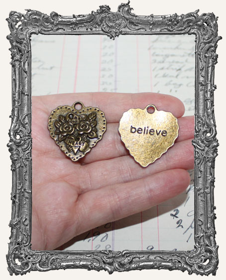 Antique Brass Rose Heart Charms - Set of 2