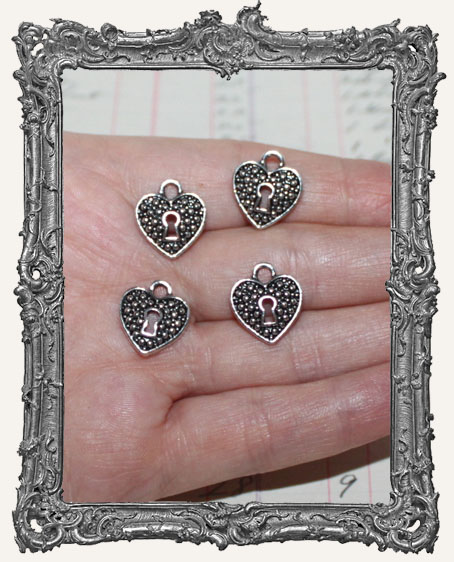 Antique Silver Heart Lock Charms - Set of 4