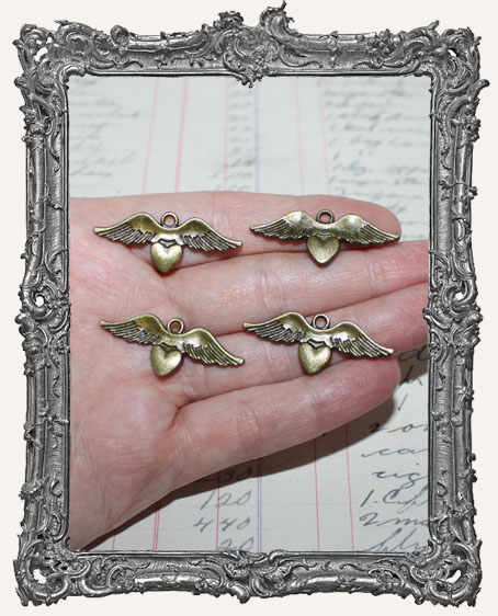 Antique Brass Winged Heart Charms Style 2 - Set of 4