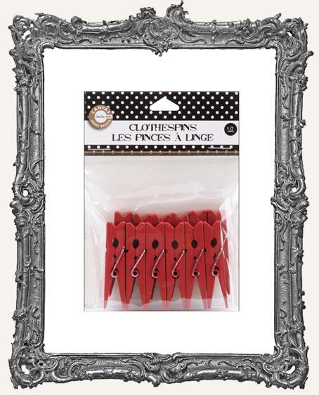 Small Red Clothespins 2 Inch - 12 Pieces