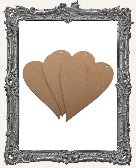 Large Chipboard Folk Heart Tags - Set of 3