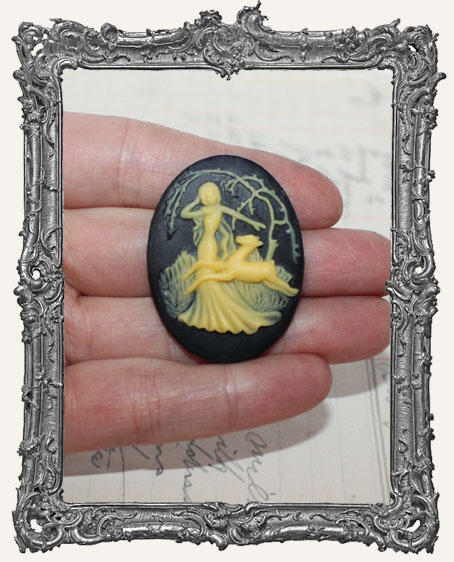 30x40mm Resin Cameo - Forest Goddess and Fawn