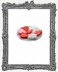 Miniature Valentine Heart Cookies On Plate