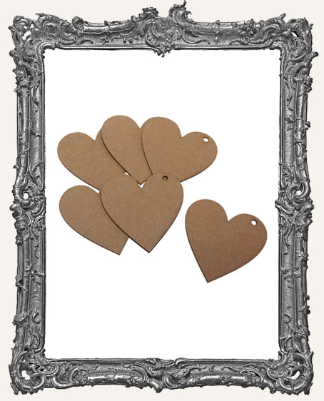 Medium Chipboard Classic Heart Tags - Set of 6