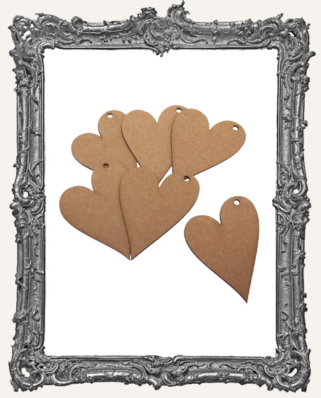 Medium Chipboard Folk Heart Tags - Set of 6
