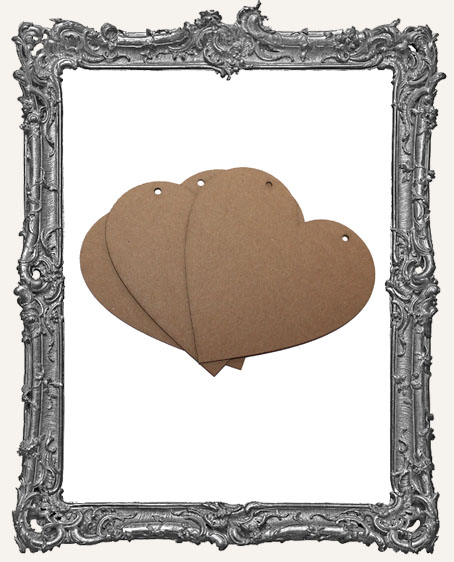 Large Chipboard Classic Heart Tags - Set of 3