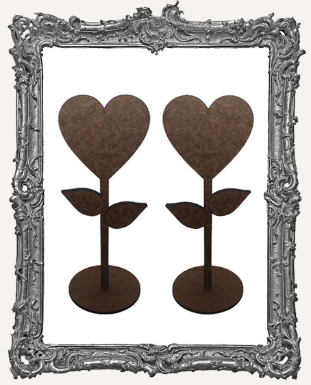 Heart Flower Sticks Stand Ups Set of Two