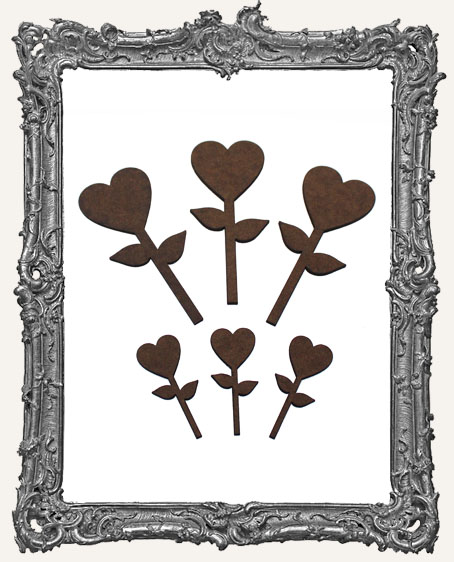 Heart Flower Cut-Outs - 6 Pieces